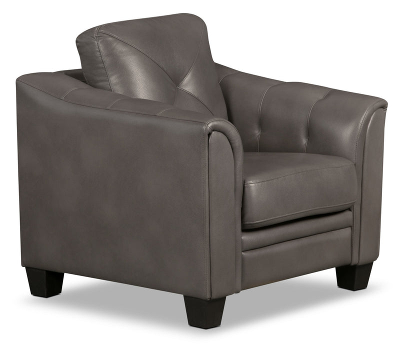 Andi Leather-Look Fabric Chair – Grey - Glam style Chair in Grey