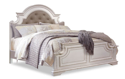 Grace King Bed – Antique White|Très grand lit Grace - blanc antique|GRACWKBD