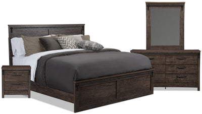 Grayson King 6-Piece Package - {Rustic} style Bedroom Package in Rich Dark Grey {Engineered Wood}