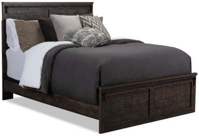 Grayson Queen Bed - {Rustic} style Bed in Rich Dark Grey {Engineered Wood}