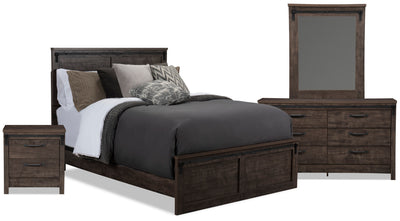 Grayson Queen 6-Piece Package - {Rustic} style Bedroom Package in Rich Dark Grey {Engineered Wood}