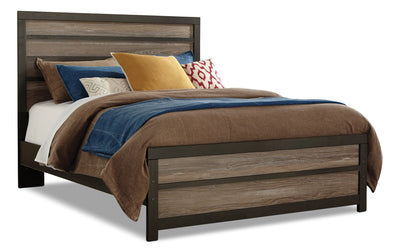 Harlinton Queen Panel Bed - Rustic style Bed in Two-Toned