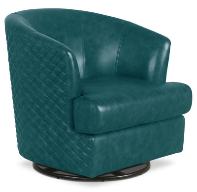 Leola Genuine Leather Accent Swivel Chair – Teal|Fauteuil d'appoint pivotant Leola en cuir véritable - bleu sarcelle|LEOLATAC