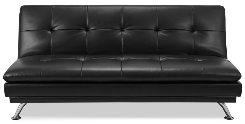 June Leather-Look Fabric Futon – Black|Futon June en tissu d'apparence cuir - noir
