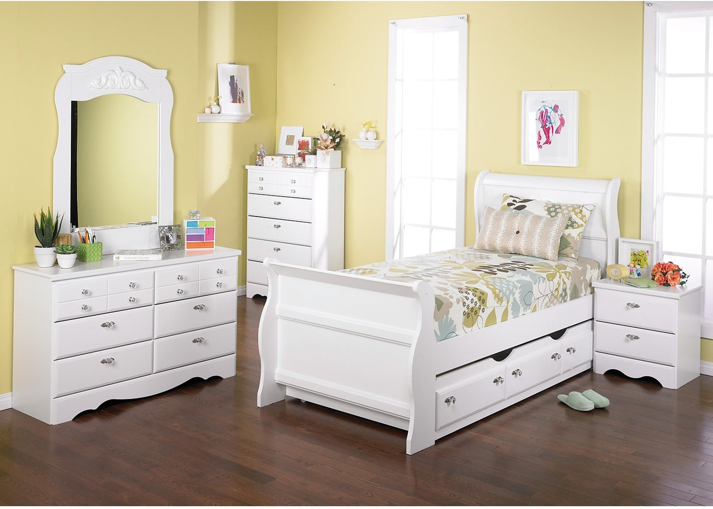 Diamond Dreams 6 Piece Twin Sleigh Bedroom Package With Trundle W