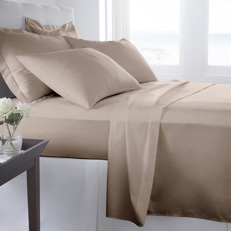 300 Thread Count Queen Sheet Set - Taupe|Ensemble de draps à contexture de 300 fils pour grand lit - taupe