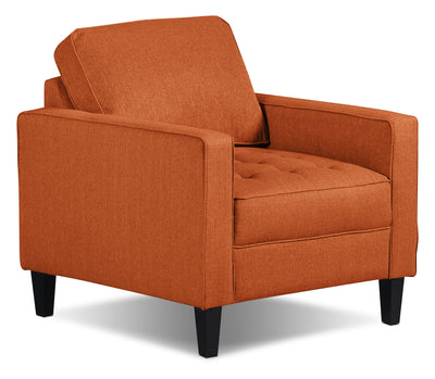 Paris Linen-Look Fabric Chair – Tangerine - Modern style Chair in Tangerine