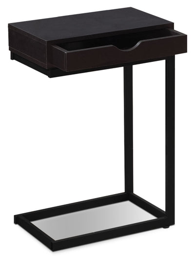 Dorset Accent Table – Cappuccino - Modern style End Table in Dark Brown Metal and Wood