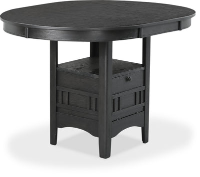 Desi Counter-Height Dining Table – Charcoal - Contemporary style Dining Table in Black Rubberwood Solids and Veneers
