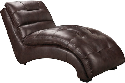 Charlie Faux Leather Curved Chaise - Brown - Contemporary style Chaise in Brown