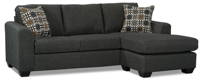 Nina 2-Piece Linen-Look Fabric Sectional – Grey - Contemporary style Sectional in Grey