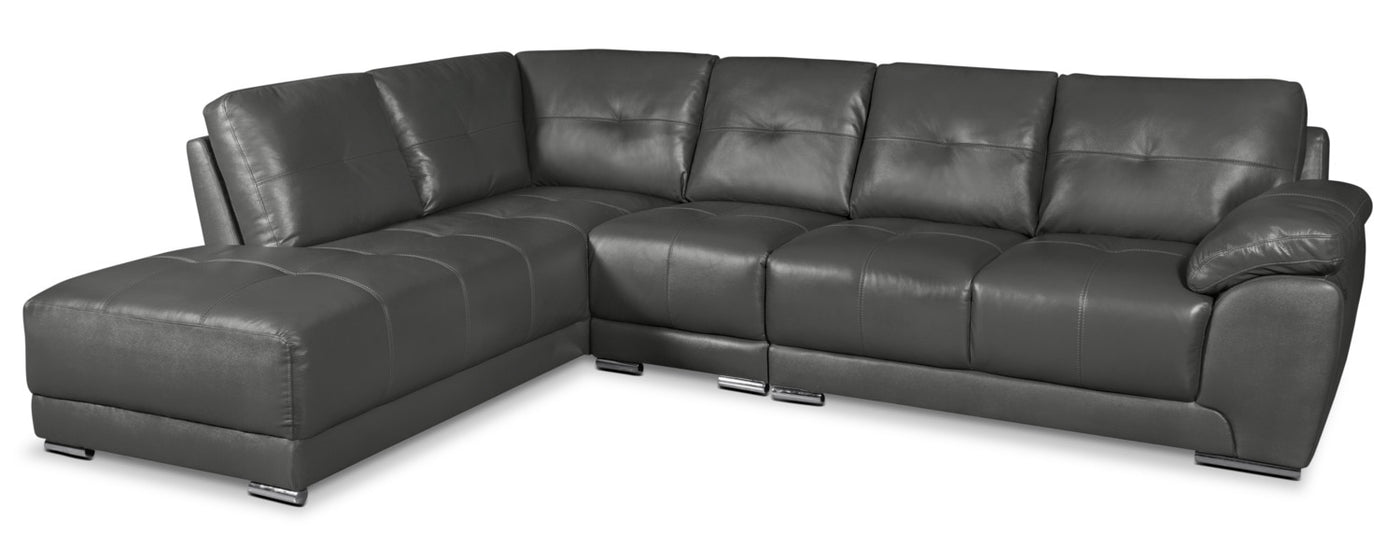 Rylee 3 Piece Genuine Leather Left Facing Sectional Grey The Brick
