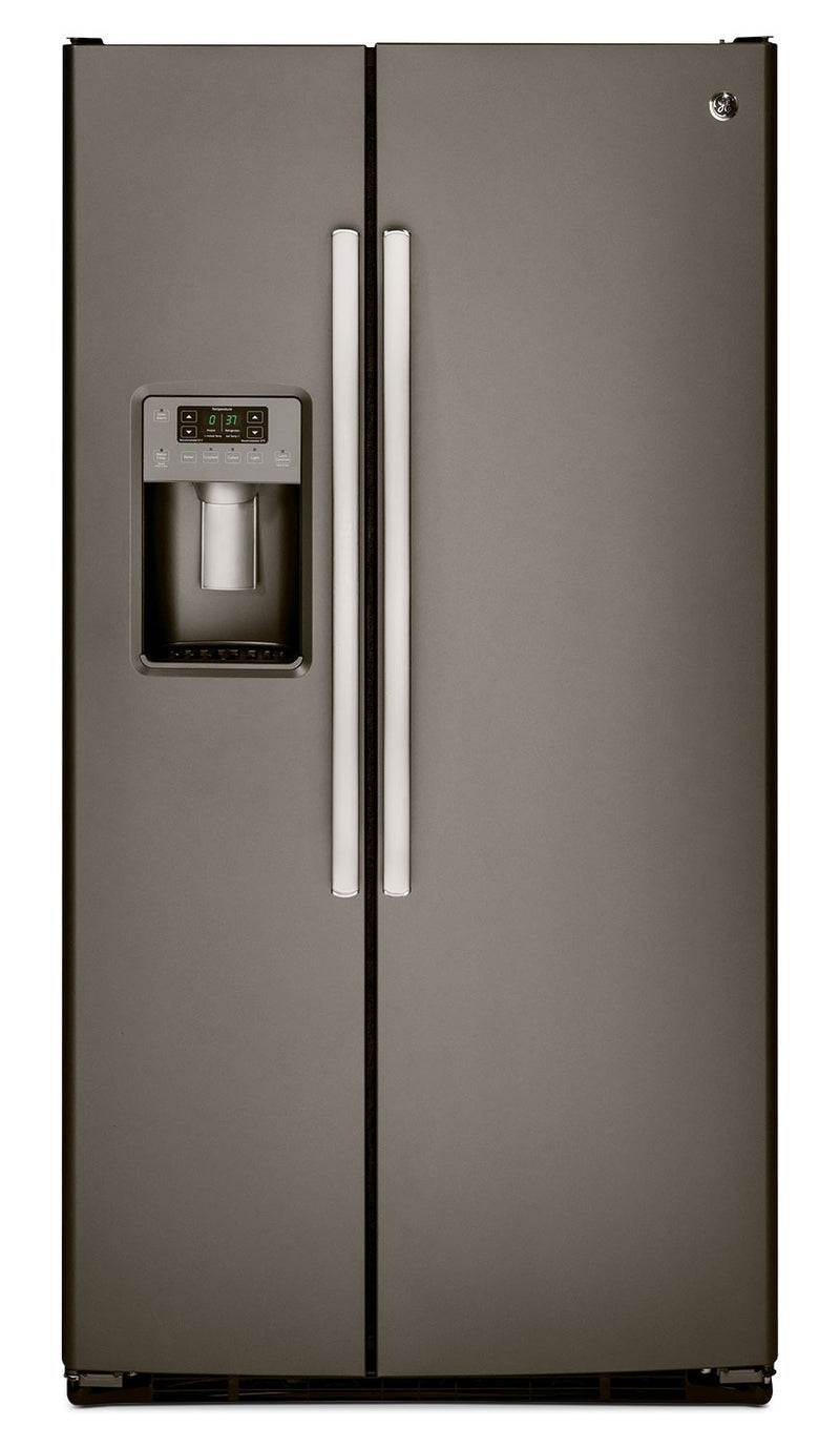 GE 25.4 Cu. Ft. Side-by-Side Refrigerator with Dispenser - Slate|Réfrigérateur GE de 25,4 pi³ à compartiments juxtaposés avec distributeur - ardoise|GSS25GMS
