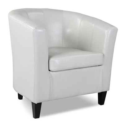 LAD Bonded Leather Accent Chair – Cream - Traditional style Accent Chair in White