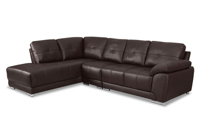 Rylee 3-Piece Genuine Leather Left-Facing Sectional - Brown|Sofa sectionnel de gauche Rylee 3 pièces en cuir véritable - brun|RYLEBLS3