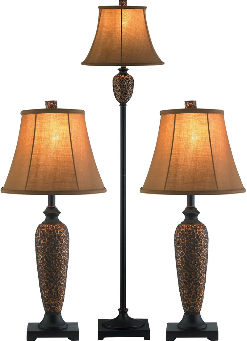 Hammered Bronze 3-Piece Floor and Two Table Lamps Set|Ensemble 3 pièces, 1 lampe à pied et 2 lampes de table, en bronze martelé
