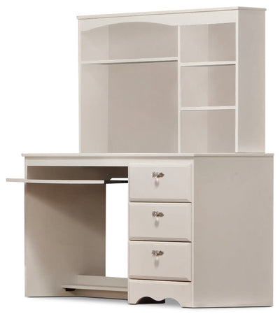 Diamond Dreams Desk w/Hutch - Contemporary style Desk Package in White
