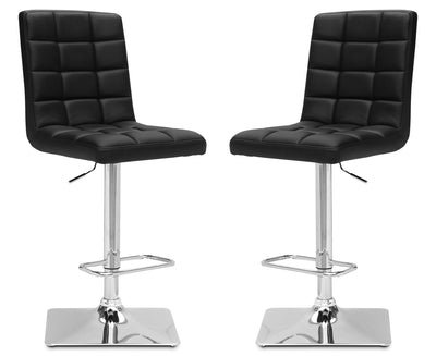 Axel High-Back Adjustable Bar Stool, Set of 2 – Black|Tabouret bar réglable Axel à dossier haut, ensemble de 2 - noir|AXELBKBP
