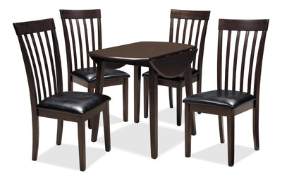 Hammis 5-Piece Dining Package - Contemporary style Dining Room Set in Dark Brown Birch Solids and Veneers