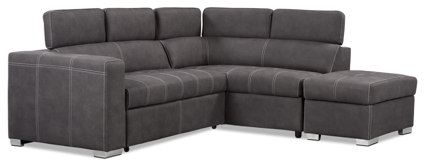 Drake 3 Piece Faux Suede Right Facing Sectional With Sofa