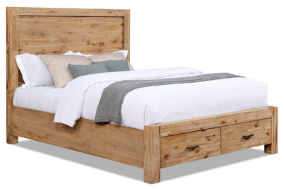 Acadia Queen Storage Bed - Rustic style Bed in Grey Brown Acacia Solids and Veneers