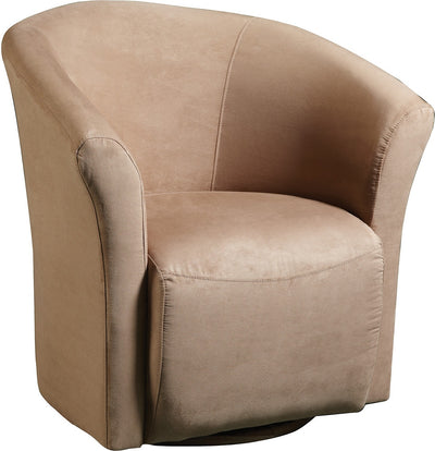 Mocha Microfibre Swivel Tub Chair - Modern style Accent Chair in Mocha