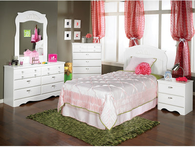 Diamond Dreams 5-Piece Twin Bedroom Package - White|Ensemble Diamond Dreams de 5 pièces avec lit simple - blanc|422PK5