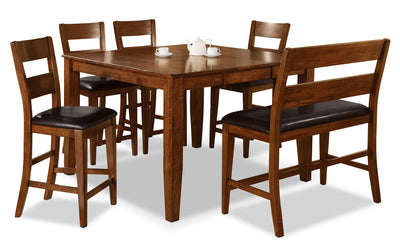 Dakota Light 6-Piece Pub-Height Dining Package - Contemporary style Dining Room Set in Light Cherry