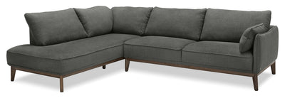Gena 2-Piece Linen-Look Fabric Left-Facing Sectional – Charcoal - Modern style Sectional in Charcoal