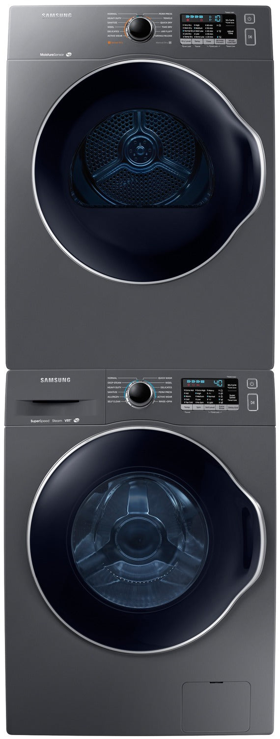 Samsung Compact 2 6 Cu  Ft  Front-Load Washer and 4 0 Cu  Ft  Electric  Dryer – Slate
