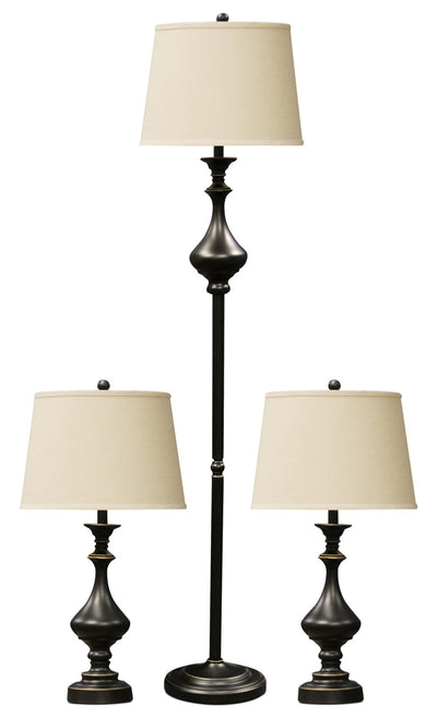 Set of Three Madison Bronze Finish Metal Lamps With White Linen Drum Shades|Ensemble 3 pièces, 1 lampe à pied et 2 lampes de table, noir avec touches dorées|L82233PK