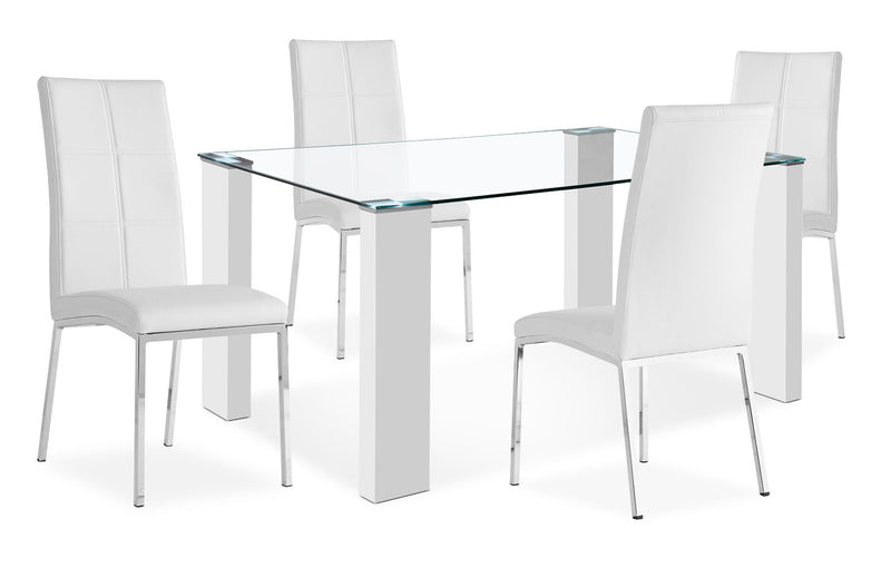 Milton 5-Piece Dining Package – White - Modern style Dining Room Set in White MDF and Glass