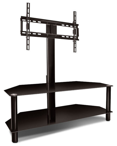 "Bello 52"" TV Stand with TV Mount - Modern style TV Stand in Black Glass"