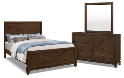 Tacoma 5-Piece Queen Bedroom Package - Rustic style Bedroom Package in Dark Brown Pine Solids and Veneers