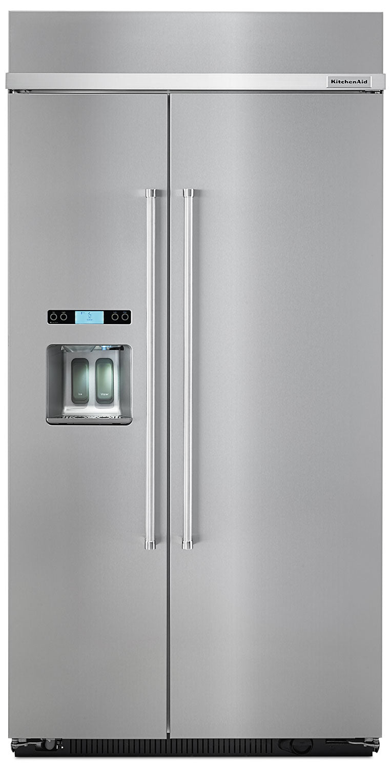 KitchenAid 25.5 Cu. Ft. Built-In Side-by-Side Refrigerator – KBSD602ESS|Réfrigérateur encastré avec portes côte à côte KitchenAid de 25.5 pi3 – KBSD602ESS