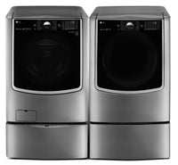 LG TWIN Wash™ 6.0 Cu. Ft. Washer, Pedestal Washer and 9.0 Cu. Ft. Electric Dryer – Graphite Steel