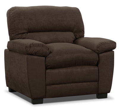 Peyton Microsuede Chair - Chocolate - Contemporary style Chair in Chocolate
