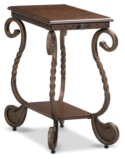 Cordoba Chairside Table – Dark Brown - Traditional style End Table in Dark Brown Metal and Wood