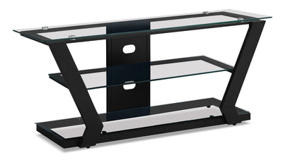 "Abram 48"" TV Stand –­ Black - Modern style TV Stand in Black Glass/Metal"