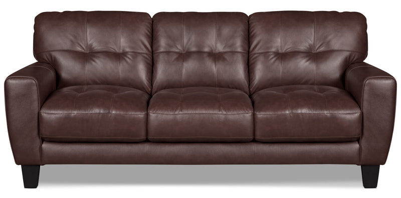 Abby Genuine Leather Sofa – Brown|Sofa Abby en cuir véritable - brun