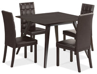 Atwood 5-Piece Dining Package with Faux Leather Dark Brown Chairs
