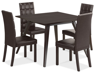 Atwood 5-Piece Dining Package with Faux Leather Dark Brown Chairs|Ensemble de salle à manger Atwood 5 pièces - chaises en similicuir brun foncé|DRG895Z