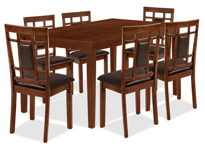 Aran 7-Piece Dining Package – Dark Walnut - Contemporary style Dining Room Set in Walnut MDF and Veneers