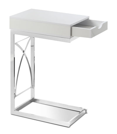 Turin Accent Table – Glossy White - Modern style End Table in White Metal and Wood