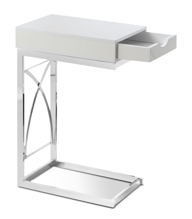 Turin Accent Table – Glossy White|Table d'appoint Turin - blanc lustré|TURWHCST