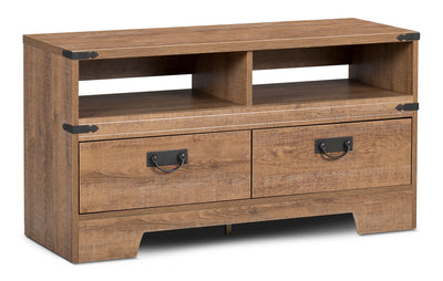 "Brackley 41"" TV Stand - Rustic style TV Stand in Light Brown Engineered Wood and Laminate Veneers"