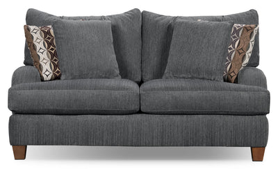 Putty Chenille Studio-Size Loveseat – Grey - Contemporary style Loveseat in Grey
