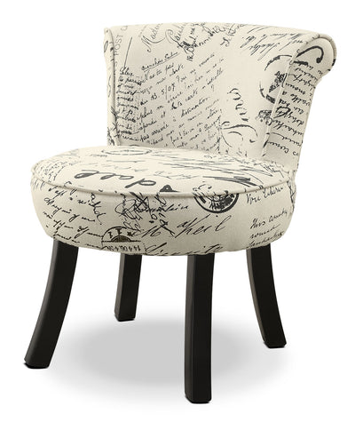 Monarch Children's Accent Chair – French Script - Contemporary style Accent Chair in Script Wood and Cotton