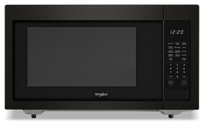 Whirlpool 1.6 cu ft, 21.75 in. Countertop Microwave, 1100 Watts - YWMC30516HV - Countertop Microwave in Black Stainless Steel