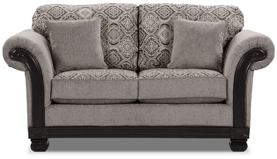 Hazel Chenille Loveseat - Grey - Traditional style Loveseat in Grey